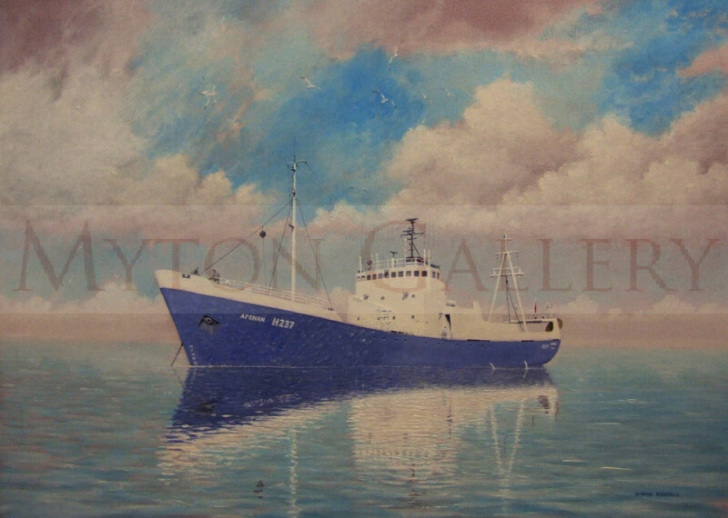 hull trawler afghan h237 painting by david sandell