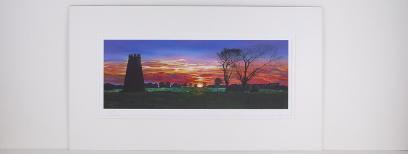 Sun Setting over Beverley Westwood, East Yorkshire picture by artist Martin Jones mounted for sale