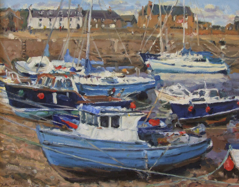boats at low tide, Stonehaven, Scotland painting by artist Bruce Mulcahy