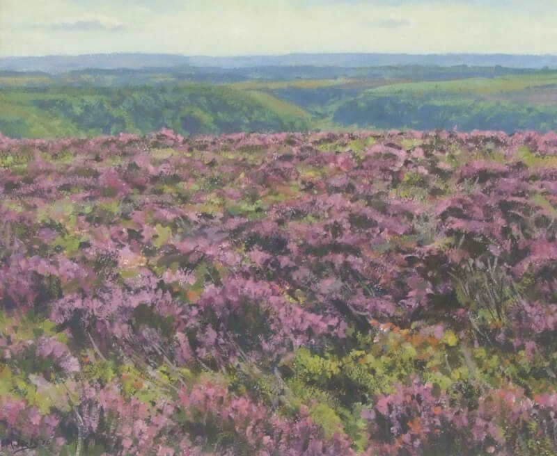 Heather moor landscape painting by artist Bruce Mulcahy