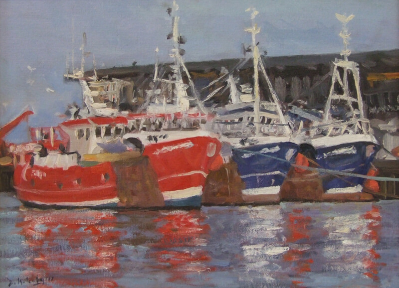 Bridlington Harbour fishing trawlers painting at Myton Gallery Hull by Bruce Mulcahy