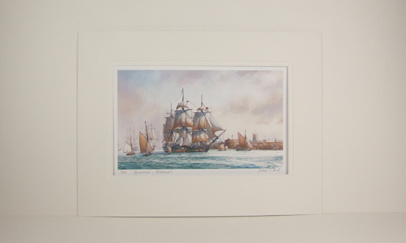 David Bell Agamemnon tall ship mounted print