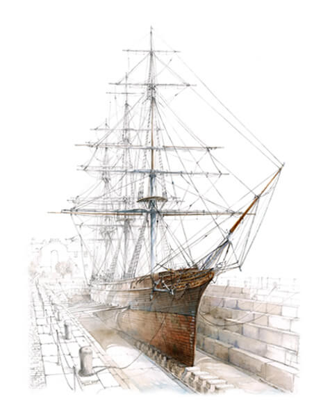 Cutty Sark tea clipper ship by David Bell