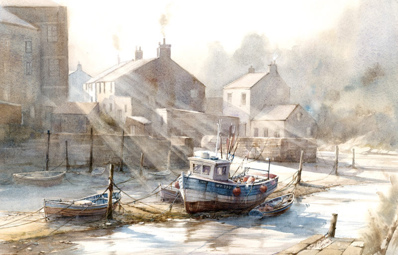 Staithes north yorkshire coast fishing village picture by artist David Bell