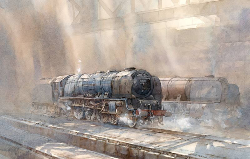 Steam Locomotive Duches of Sutherland at Carlsile station print by artist David Bell