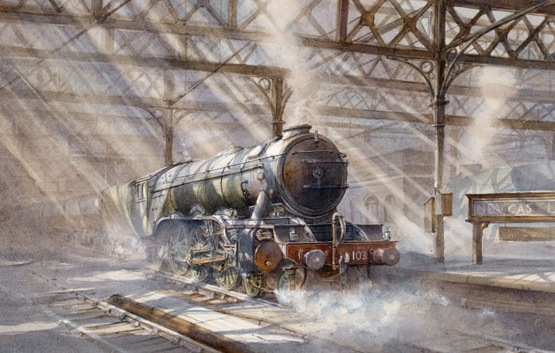 The Flying Scotsman at Newcastle station picture by artist David Bell