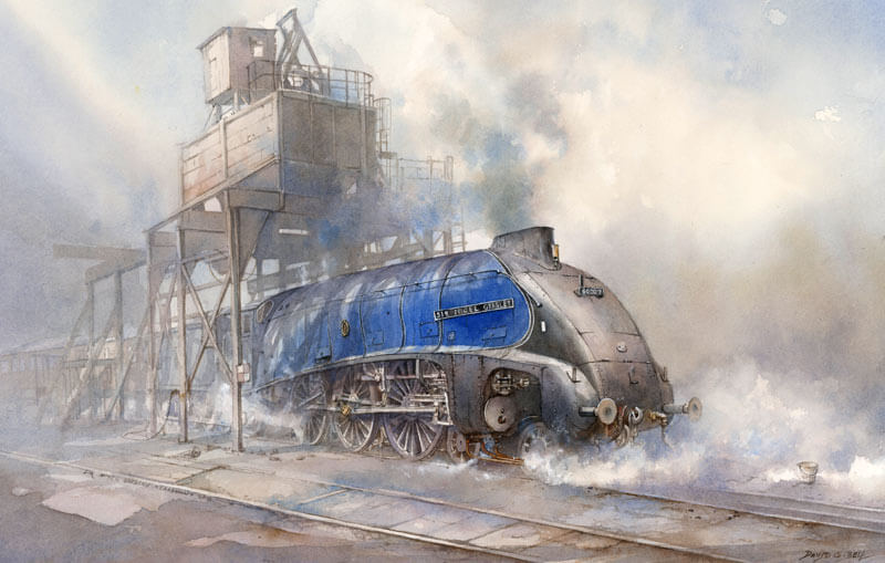 Sir Nigel Gresley steam train print by artist David Bell