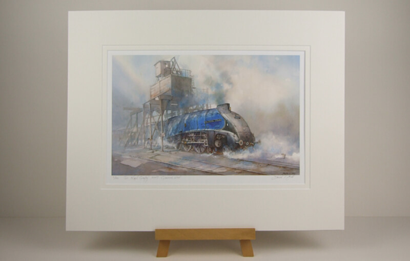 mounted fine art print of steam train Sir Nigel Gresley by artist David Bell
