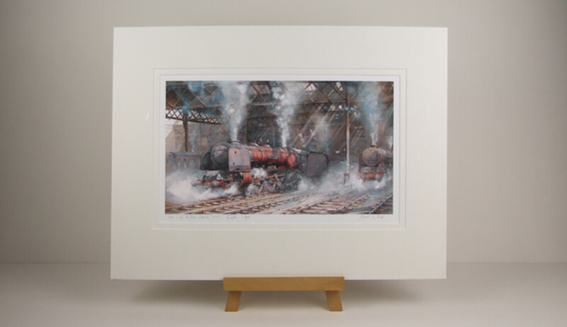 David Bell print by Sir William Stanier steam locomotive mounted