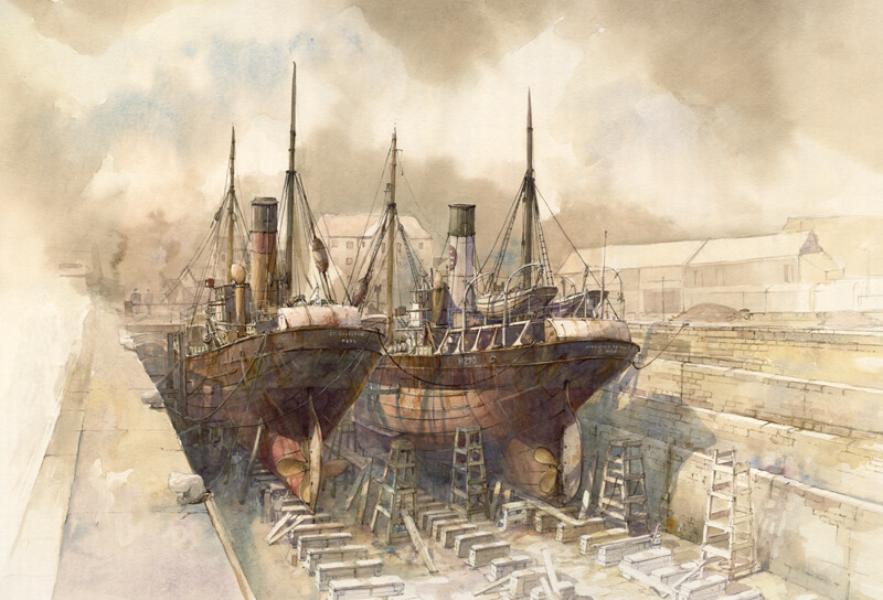 St Celestin and Kingston Onyx Hull trawler print by marine artist David Bell