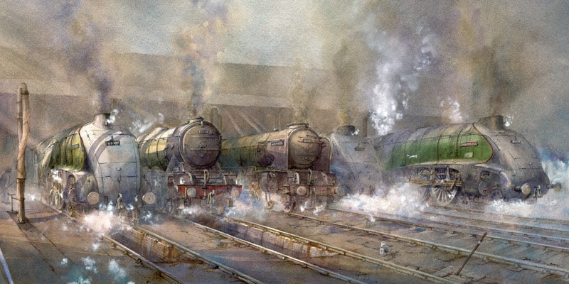 Flying Scotsman steam train print of Kings Cross London by artist david Bell