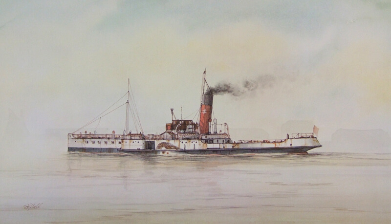 Wingfield Castle humber ferry picture by artist David Bell