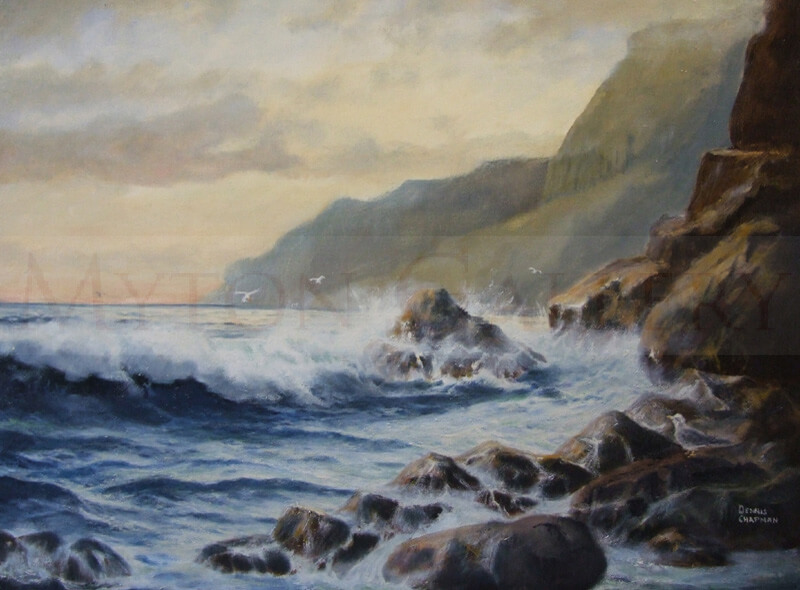 A New Day Seascape original painting by marine artist Dennis Chapman