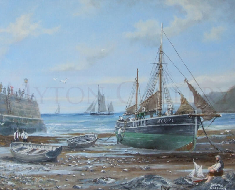 Waiting for the Tide painting by marine artist Dennis Chapman