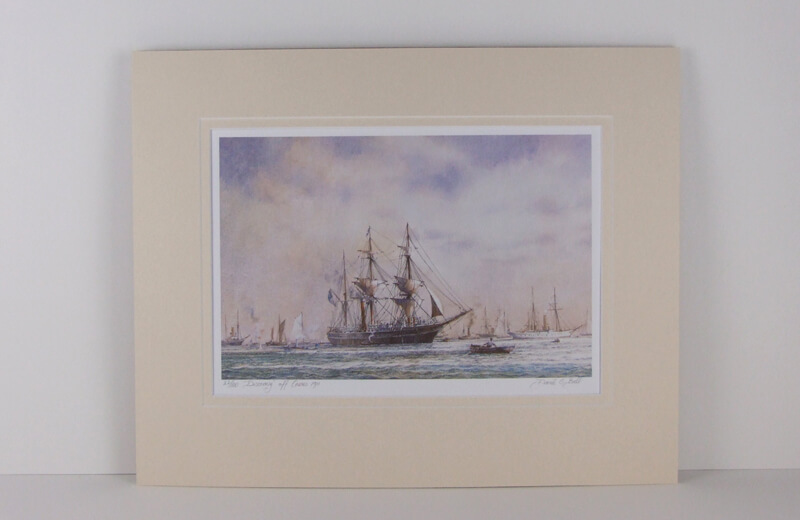 discovery off cowes tall ship david bell mounted for sale