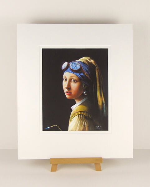 Girl With A Pearl Earring picture by artist Gary Saunt mounted for sale at myton gallery