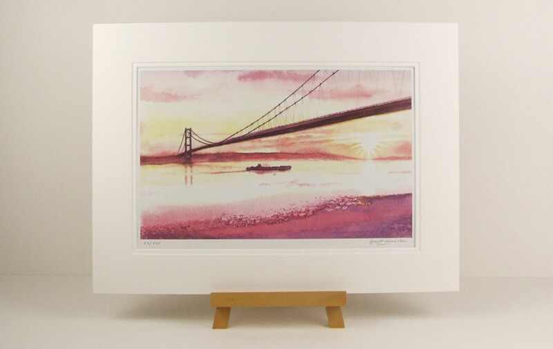 The Humber Bridge Hull print by Geoff Woolston at Myton Gallery Hull mounted for sale