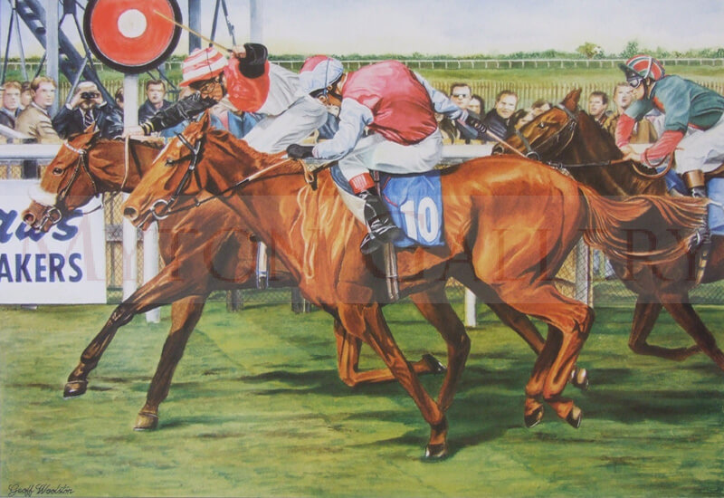 Horses at The Winning Post, Beverley Raecourse picture by artist Geoff Woolston