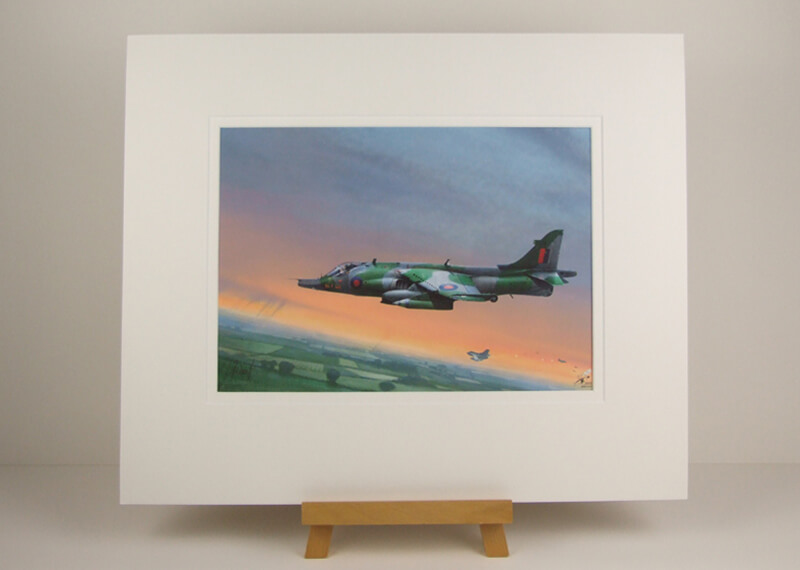 Harrier Jet aviaition print by Gary Saunt mounted for sale