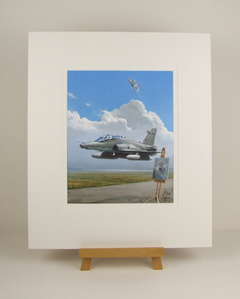 Hawk jet plane print and Humber Bridge by Gary Saunt mounted for sale