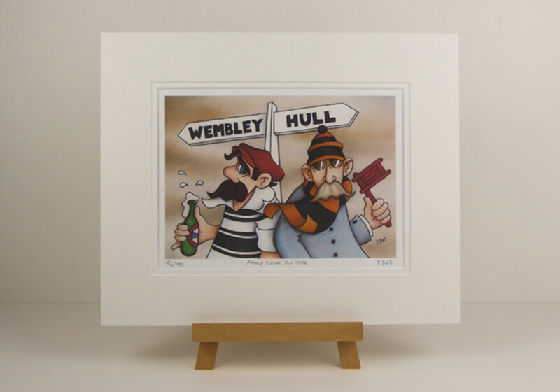 Humorous Hull FC and Hull City cartoon fine art picture by artist Peter Bell mounted for sale