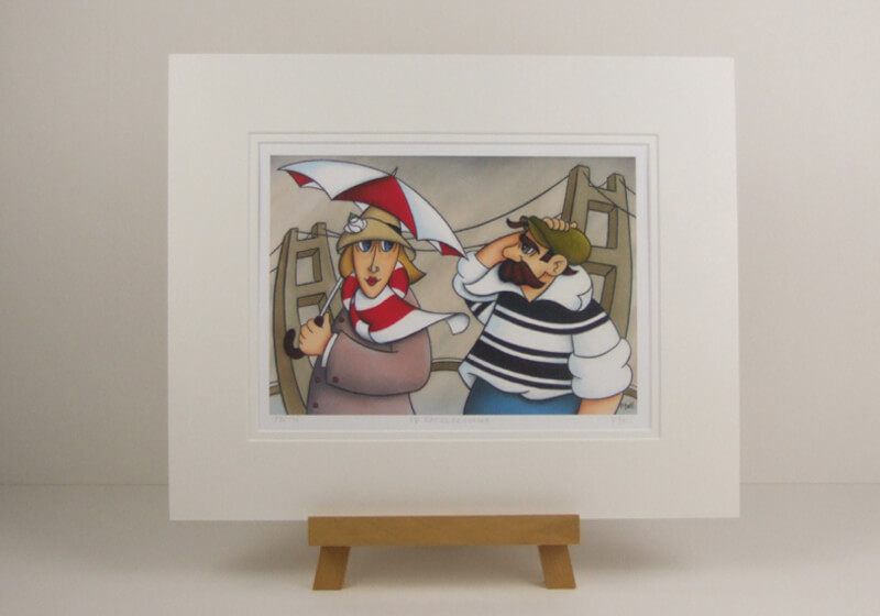 Humorous Hull FC and Hull KR rugby league cartoon fine art picture by artist Peter Bell