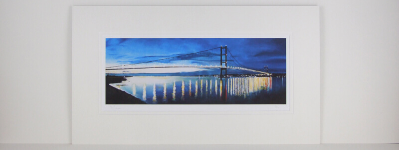 Humber Bridge evening scene picture by Martin Jones mounted for sale
