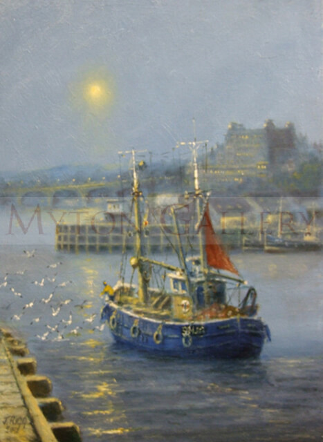 Trawler and The Grand Hotel Scaborough original painting by marine artist Jack Rigg