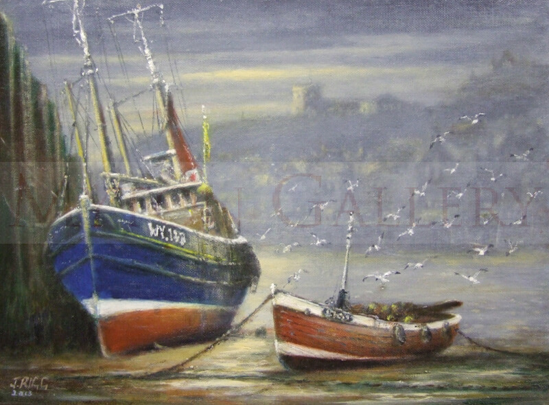 Boats at Low Tide by artist Jack Rigg high and dry