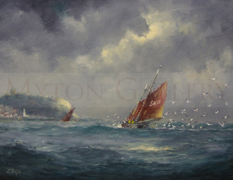Fishing Boat off Scarborough original painting by marine artist Jack Rigg