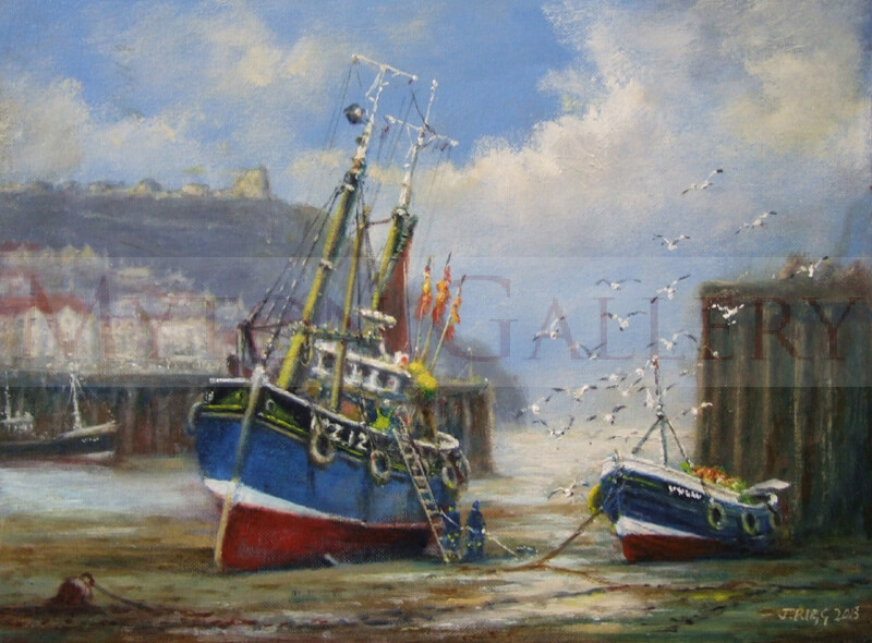 Fishing Boats in Scarborough Harbour at Low Tide painting by marine artist Jack Rigg