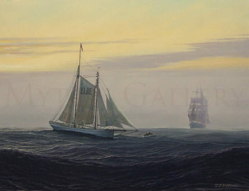 marine artist jenny morgan misty evening elbe pilot ship painting