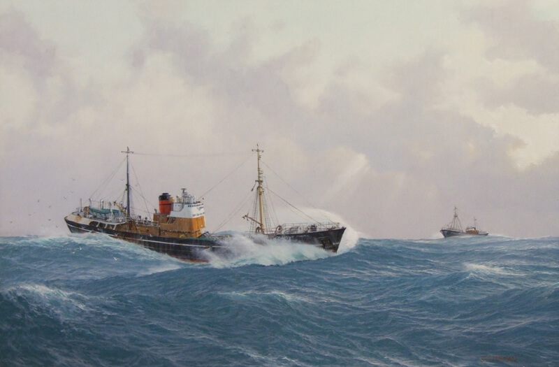Hull trawlers St. Celestin and Somerset Maugham painting by artist Jenny Morgan