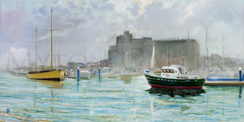 Summer, Hull Marina original painting by artist John Brine