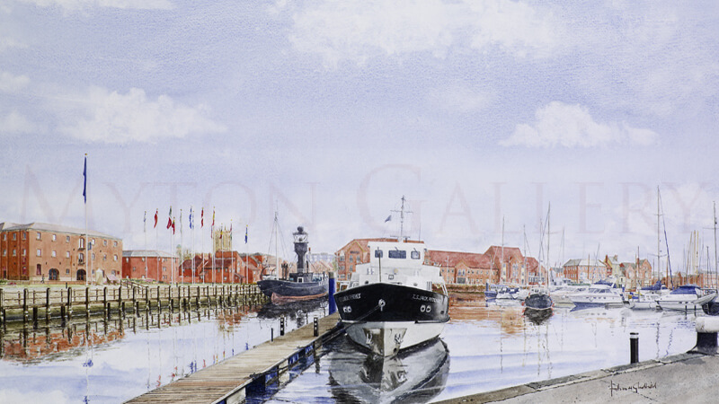 Hull Marina And Spurn Lightship picture by artist John Gledhill