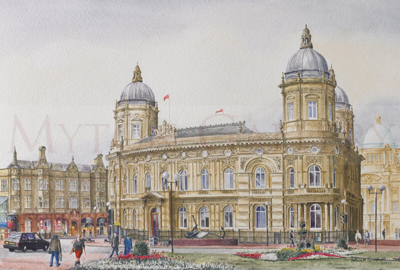 The Dock Offices, Maritime Museum, Hull picture by artist John Gledhill
