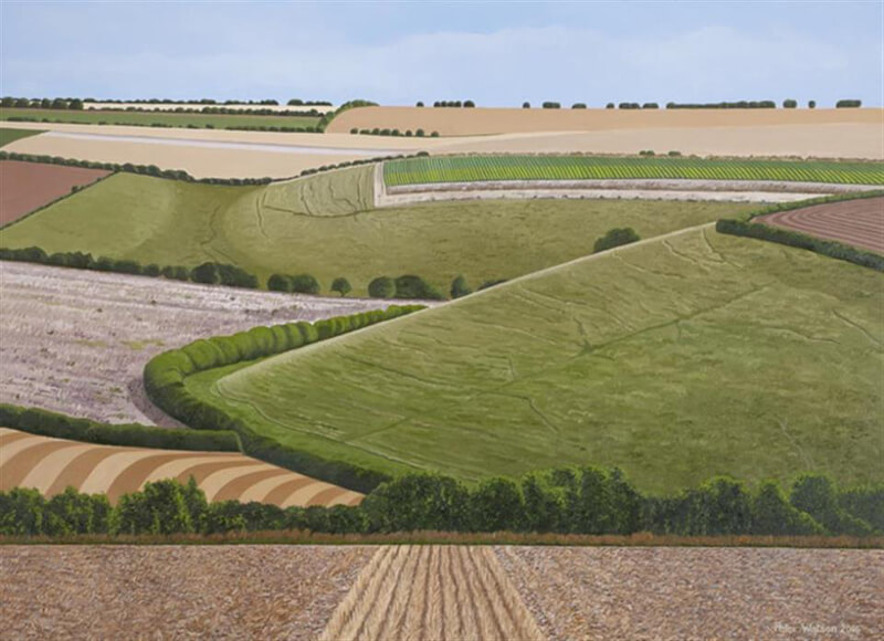 Yorkshire landscape painting Langtoft Bottom from Tommy Marshall painting by artist Peter Watson at Myton Gallery Hull