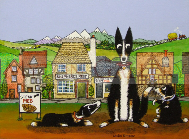 Leslie Simpson Original Collie Dogs Painting