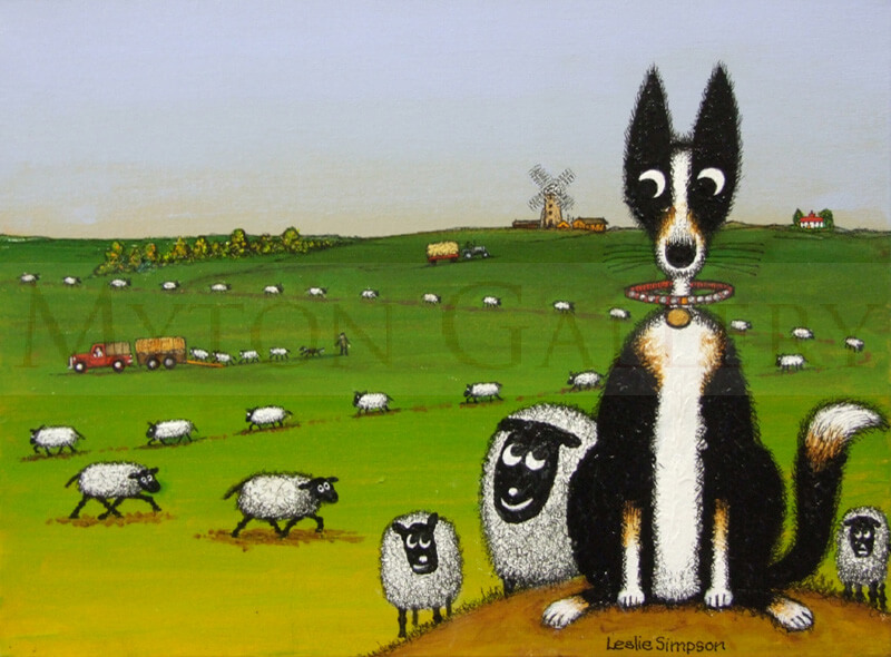 Original Leslie Simpson Painting of Collie Dog and Sheep