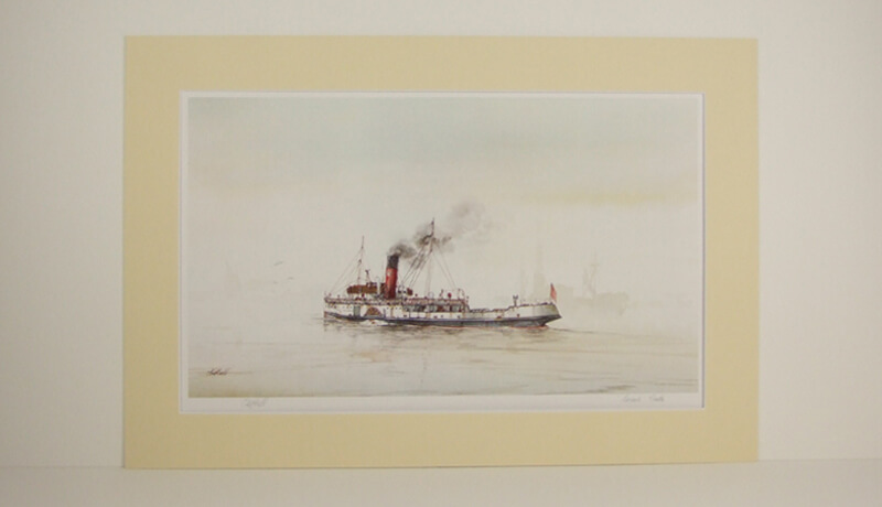 Lincoln Castle humber ferry picture by artist David Bell mounted for sale