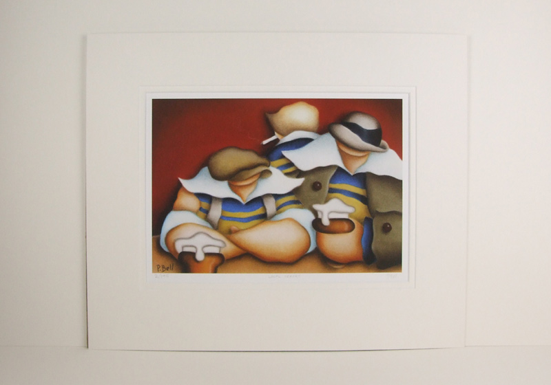 Leeds Rhinos rugby picture by Peter Bell mounted for sale