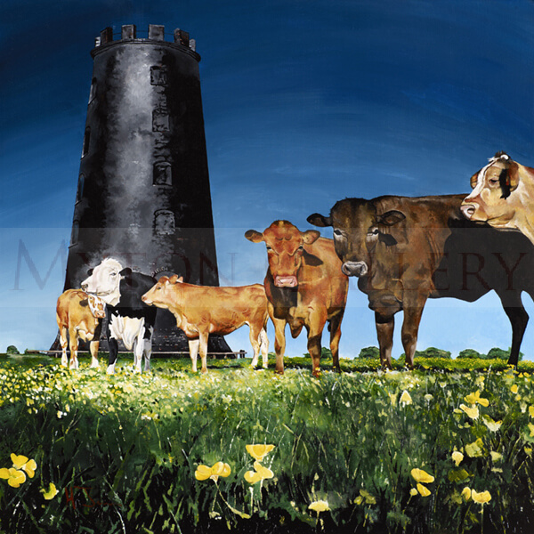 artist Martin Jones picture Cows and Black Mill, Beverley Westwood, East Yorkshire