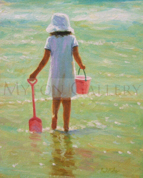 Girl paddling on the beach original painting by Paul Milner