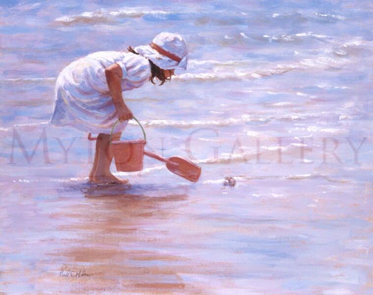 Meeting the Locals picture of a girl playing in the sea by artist Paul Milner