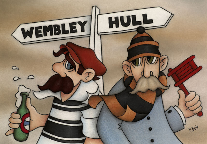 Humorous Hull FC and Hull City cartoon fine art picture by artist Peter Bell