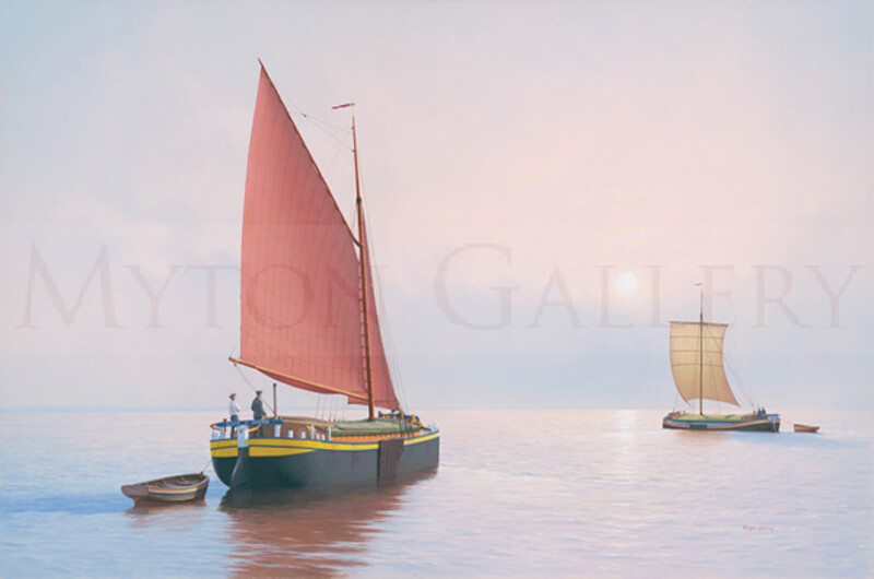 Sloop and Keel Barges, Dawn on the Humber picture by marine artist Roger Davies