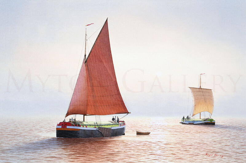 Humber Sloop and Keel Barges In The Clearing Mist picture by marine artist Roger Davies