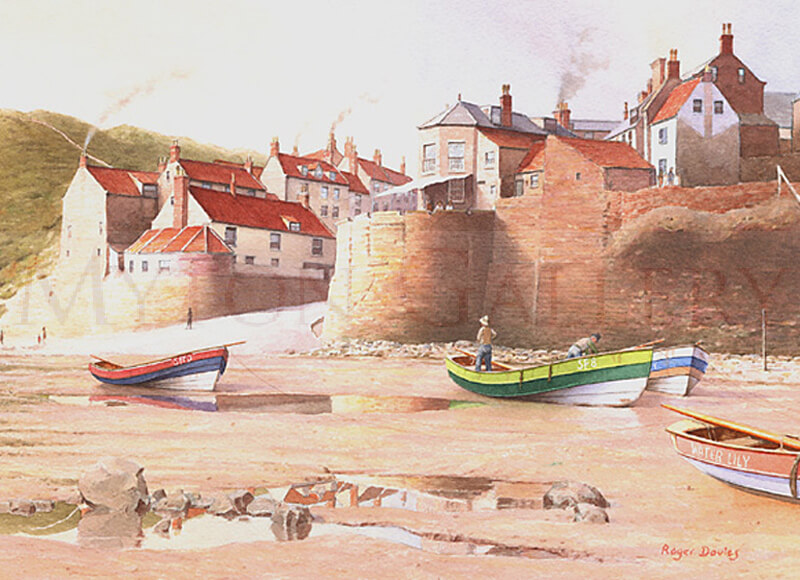 Robin Hood's Bay, North Yorkshire picture by marine artist Roger Davies