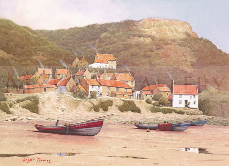 Runswick, North Yorkshire picture by marine artist Roger Davies