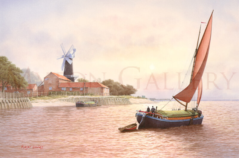 Humber Sloop Barge Off Hessle Cliff picture by marine artist Roger Davies